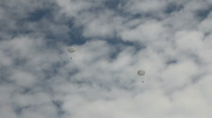Two paratrooper in the cloudy sky Stock Footage
