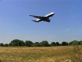 Stock Video Footage of London Heathrow BA Plane coming in to Land GFSD