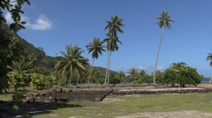 Huahine stone platforms and palms Stock Footage
