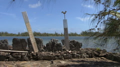 Huahine stele at sacred site Stock Footage