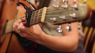 Playing Guitar Dolly Push in Stock Footage