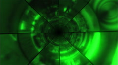 Tunnel Vortex of Video Images- Green- 30P Stock Footage