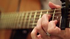 Guitar neck close up Stock Footage