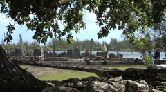 Huahine sacred site framed in leaves Stock Footage