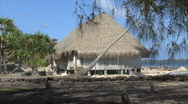 Huahine thatched roof building Stock Footage