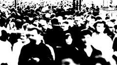 Massive anonymous crowd on street Stock Footage