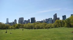 Central Park Sheep Meadow wide tilt down from sky Stock Footage