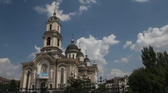Cathedral in the background moving clouds Stock Footage