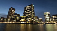 Stock Video Footage of Time Lapse of London's Canary Wharf Offices at Night