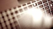 Guitar strings and microphone macro (Rack Focus) Stock Footage