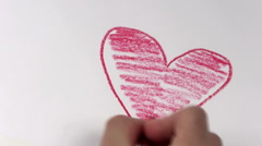 Stock Video Footage of Crayon drawing HEART - HD