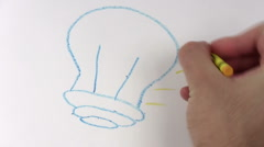 Stock Video Footage of Crayon drawing LIGHT BULB - HD