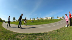 Extreme wide angle view on the road turn in the park. Timelapse Stock Footage