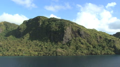 Huahine view of cliffs Stock Footage