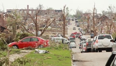 Street View of Destruction from Tornado (HD) c Stock Footage