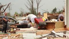People Sorting Through Tornado Ruins (HD)m Stock Footage