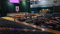 People On Cots In Shelter After Tornado (HD)c Stock Footage