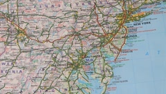 Topographical map of the USA. East seaboard - stock footage