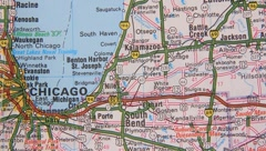 Topographical map of the USA. Chicago - Cleveland - stock footage