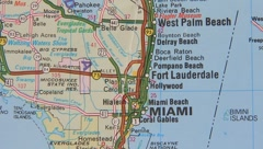 Topographical map of the USA. Miami Stock Footage