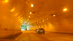 Driving Through Highway Tunnel Stock Footage