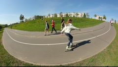 Extreme wide angle view on the road turn in the park. Stock Footage