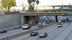 Downtown LA Highway 110 Cars in Traffic Stock Footage