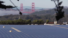 Golden Gate Bridge & Solar Field Stock Footage