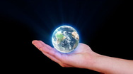 Earth in hand Stock Footage