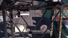Port Gantry Crane Loading Containers Stock Footage