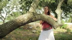 Lovely Nature Frame for Smiling Girl Stock Footage