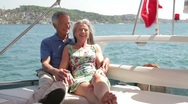 Stock Video Footage of Senior couple embracing on a yacht