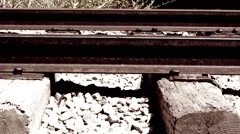 Old train tracks dolly shot - stock footage