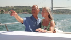 Senior couple embracing on a yacht Stock Footage