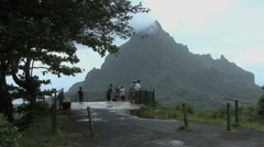 Moorea tourists at an observation point Stock Footage