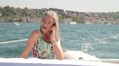 Senior male captain and female on nautical vessel Stock Footage