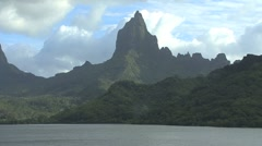 Moorea slow zoom out Opunohu Bay Stock Footage