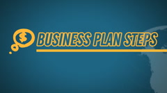 Business Plan Steps video illustration on blue in HD - stock footage