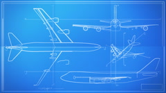 Aircraft Technical Drawing Blueprint Time Lapse HD - stock footage