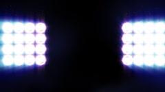 Spotlights on the black background. Stock Footage