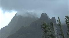 Moorea mist on mountain timelapse Stock Footage