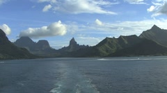 Leaving Moorea with clouds and reef Stock Footage