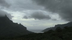 Moorea Cook's Bay below under cloudy sky Stock Footage