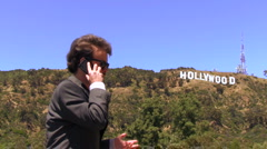 Hollywood agent with cell wide V4 - HD Stock Footage