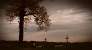 Cemetery crosses Stock Footage