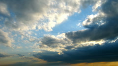 timelapse with evening cloudy sky - stock footage