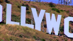 Hollywood sign zoom out V1 - HD Stock Footage