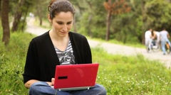 Beautiful girl using computer in countryside, phaeton passing behind 2 Stock Footage