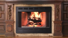 Old Style Fireplace - stock footage