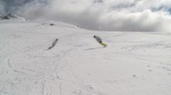 Snowboards sliding Stock Footage